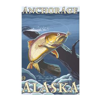 横断面-アンカレッジ、アラスカ--を採取しているマス キャンバスプリント