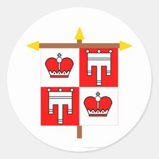横木のファドゥーツの紋章入りの旗 ラウンドシール