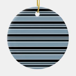 横4つを-青及び黒縞で飾ります セラミックオーナメント