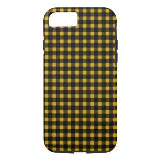 樵のプリントの黄色の黒の冬のバッファローの格子縞 iPhone 8/7ケース