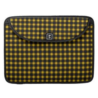 樵のプリントの黄色の黒の冬のバッファローの格子縞 MacBook PROスリーブ