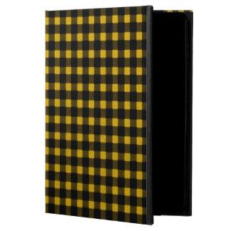 樵のプリントの黄色の黒の冬のバッファローの格子縞 POWIS iPad AIR 2 ケース