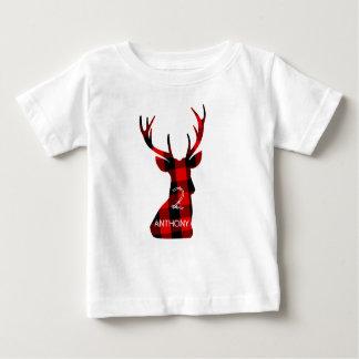 樵の格子縞のアカシカの頭部の(雄ジカの)枝角の誕生日 ベビーTシャツ