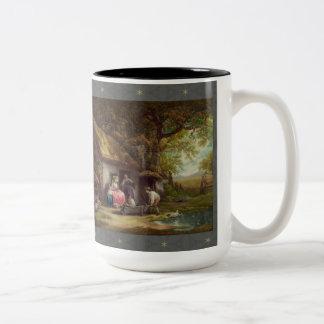 樹木が茂ったコテージ ツートーンマグカップ