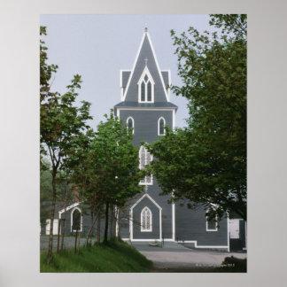 樹木が茂ったチャペル、ニューファウンドランド、カナダ ポスター