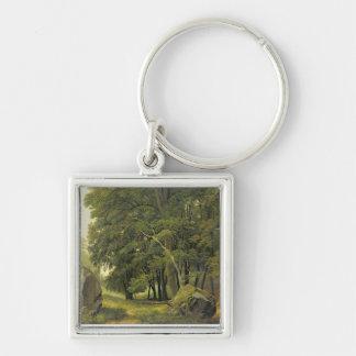 樹木が茂った景色(パネルの紙の油) キーホルダー
