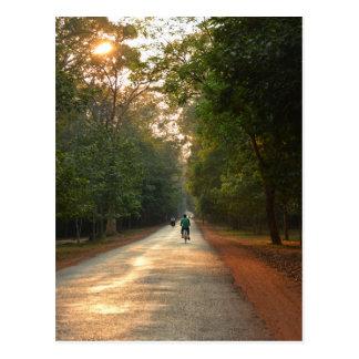 樹木が茂った道のサイクリスト ポストカード