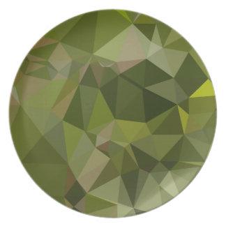 樹液緑の抽象芸術の低い多角形の背景 プレート