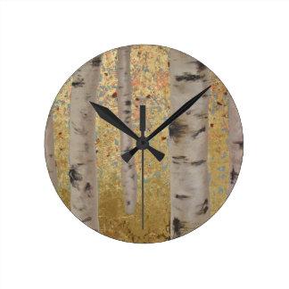 樺の木および金ぱくのオリジナルのアートワーク ラウンド壁時計