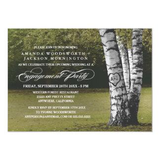 樺の木のイニシャルの婚約パーティの招待状 カード