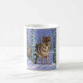 樺の木のオオカミ コーヒーマグカップ