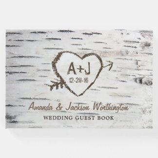 樺の木の吠え声の国の素朴な結婚式の来客名簿 ゲストブック
