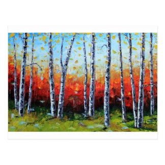 樺の木の夢、油のパレットナイフの絵画 ポストカード