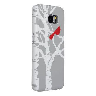 樺の木の枝の(鳥)ショウジョウコウカンチョウ。 電話カバー SAMSUNG GALAXY S6 ケース