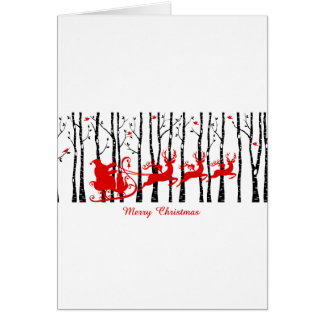 樺の木の森林のサンタ グリーティングカード