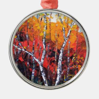 樺の木の秋のカラフルなパレットナイフの絵画 メタルオーナメント