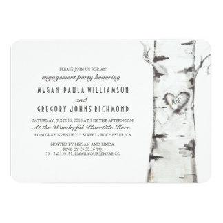 樺の木の素朴な婚約パーティ カード