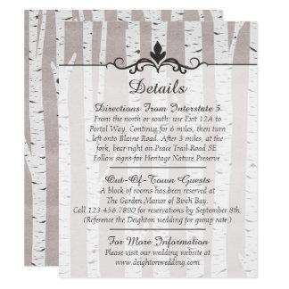 樺の木の素朴な結婚式の詳細/方向 10.8 X 14 インビテーションカード