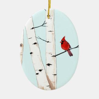 樺の木を持つ(鳥)ショウジョウコウカンチョウ セラミックオーナメント