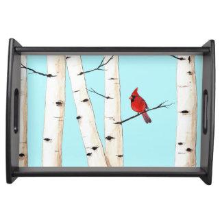 樺の木を持つ(鳥)ショウジョウコウカンチョウ トレー