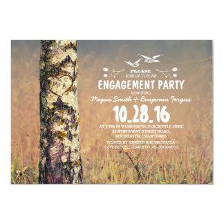 樺の木及び愛ハートの素朴な婚約パーティ カード