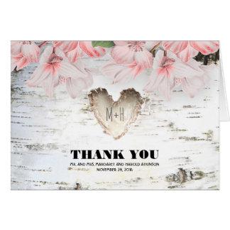 樺の木吠え声のハートの素朴な国の結婚式は感謝していしています カード