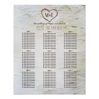 樺の木吠え声のハートの素朴な結婚式の座席の図表 ポスター