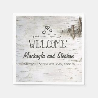 樺の木吠え声の結婚式 スタンダードカクテルナプキン