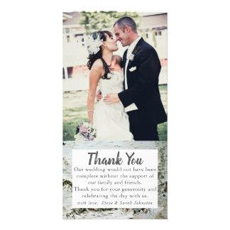 樺の木木吠え声の結婚式の写真のサンキューカード カード