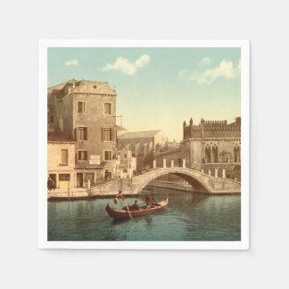 橋および運河、ベニス、イタリア スタンダードカクテルナプキン