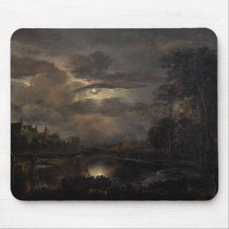橋との月明りの景色 マウスパッド