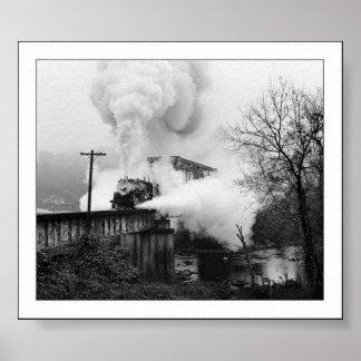 橋に出くわす蒸気機関 ポスター