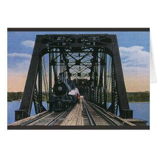 橋のヴィンテージ旅行交通機関の列車 カード