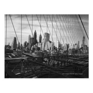 橋ケーブルを通した都市景観 ポストカード