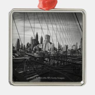 橋ケーブルを通した都市景観 メタルオーナメント
