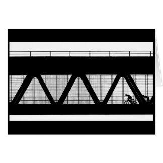 橋-白黒挨拶状のサイクリスト カード