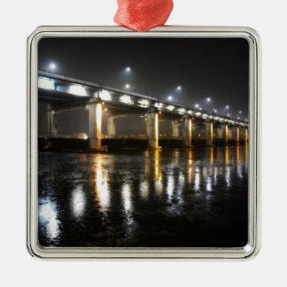 橋、雨、ソウル メタルオーナメント