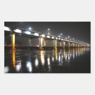 橋、雨、ソウル 長方形シール
