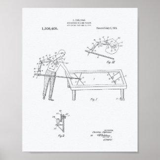 機械ビリヤード1919のパテントの芸術-白書 ポスター