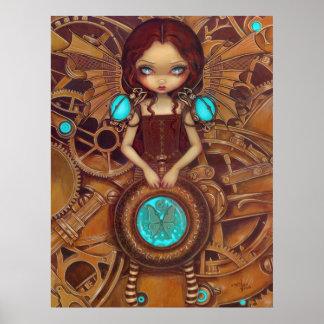 機械天使Iのsteampunkの妖精の芸術のプリント ポスター