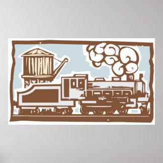機関車および給水塔 ポスター
