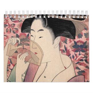櫛、北川町Utamaroを握っている日本のな女性 カレンダー
