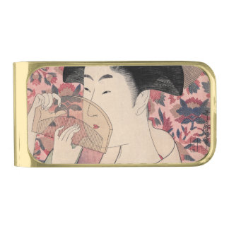 櫛、北川町Utamaroを握っている日本のな女性 ゴールド マネークリップ