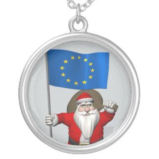 欧州連合の旗を持つサンタクロース シルバープレートネックレス