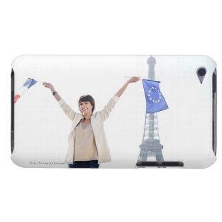 欧州連合の旗を握っている女性およびフランス人 Case-Mate iPod TOUCH ケース