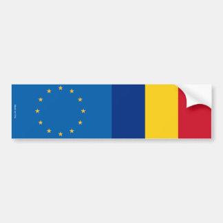 欧州連合及びルーマニア人の旗のバンパーステッカー バンパーステッカー