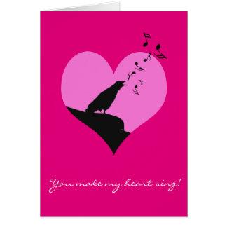 歌うカラスとのバレンタインのハートの気持ち カード