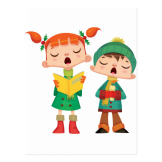 歌うクリスマスのキャロル ポストカード