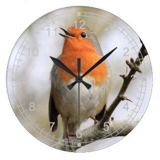 歌う冬ロビン ラージ壁時計