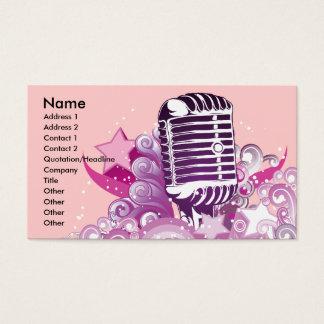 歌う花型女性歌手のヴィンテージのマイクロフォンのベクトル 名刺